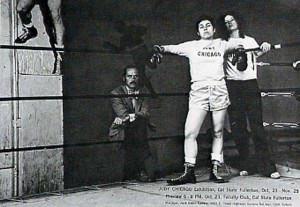 Judy Chicago, Boxing Ring Ad, Announcement in Artforum for Jack Glenn Gallery, 1971. Photo by Jerry McMillan